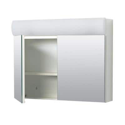Zenna Home 23.25 in. x 18.63 in. x 5.88 in Surface-Mount Lighted Frameless Medicine Cabinet with Mirror in White