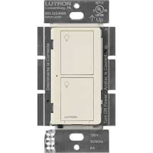 Caseta Wireless Smart Lighting Switch for All Bulb Types or Fans, Light Almond