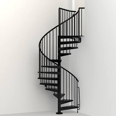 Civik 47 in. Black Spiral Staircase Kit