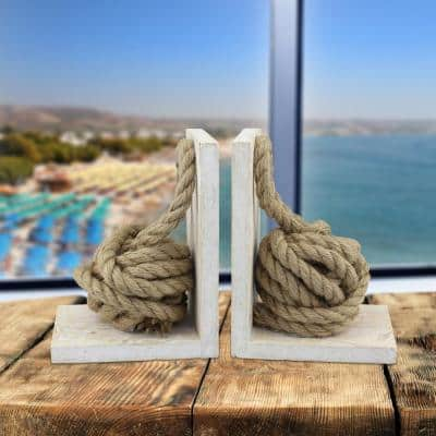 White Wood Bookends with Natural Rope Knots (Set of 2)