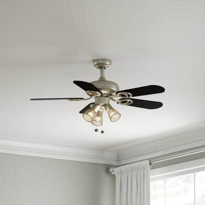 San Marino 36 in. LED Indoor Brushed Steel Ceiling Fan with Light Kit