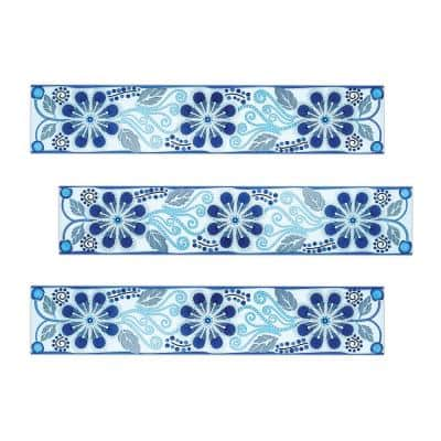 Anabel 3 in. x 16 in. Metallic Blue Tones Ceramic Decorative Listello Wall Tile (3-Pack)