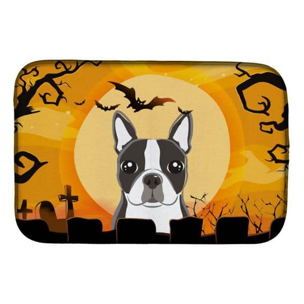 Caroline S Treasures 14 In X 21 In Multicolor Halloween Boston Terrier Dish Drying Mat Bb1761ddm The Home Depot