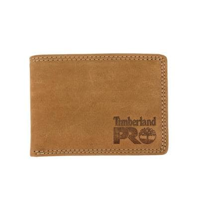 Men's Leather RFID Wallet With Removable Flip Pocket Card Carrier (Wheat/Pullman)