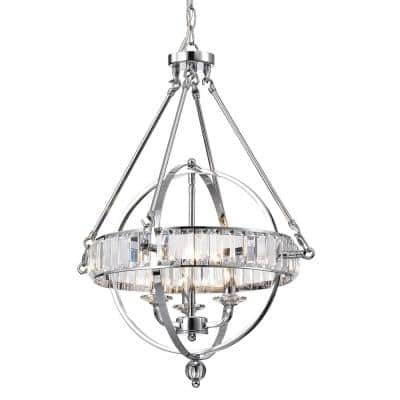 3-Light Chrome Sphere Chandelier with Crystals Belt