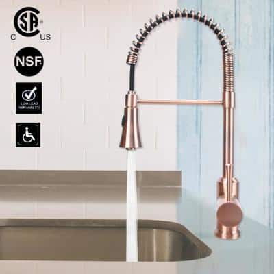 4 in. Centerset Single-Handle Pre-Rinse Spring Pull Down Sprayer Kitchen Faucet in Copper