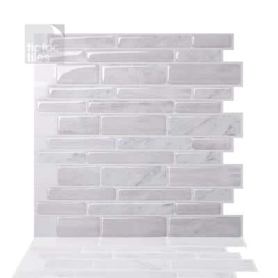 Polito White 12 in. W x 12 in. H Peel and Stick Self-Adhesive Decorative Mosaic Wall Tile Backsplash (10-Tiles)