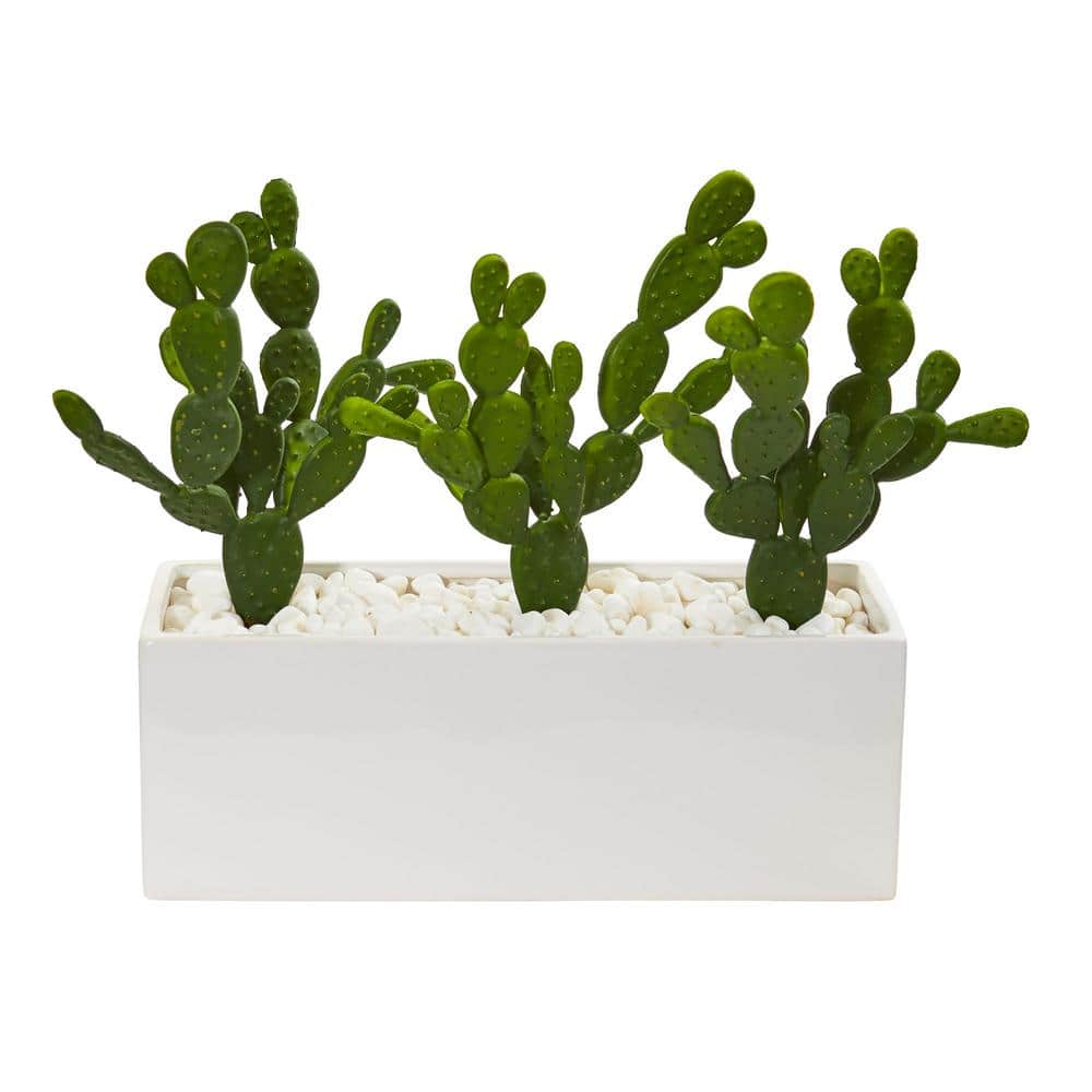 Nearly Natural Indoor 11 Cactus Succulent Artificial Plant In Glazed White Vase 8512 The Home Depot