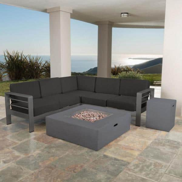 Noble House Gray 5 Piece Aluminum Patio Fire Pit Conversation Set With Dark Cushions 20029 The Home Depot