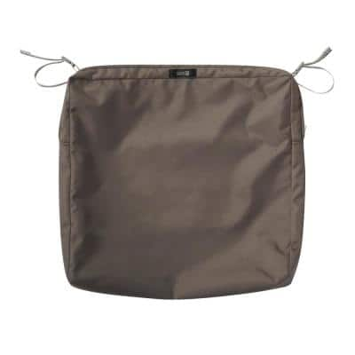 Ravenna Water-Resistant 21 in. x 21 in. x 3 in. Patio Seat Cushion Slip Cover, Dark Taupe