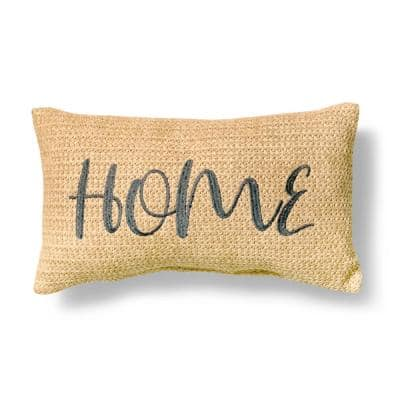 Home Embroidered Natural Woven Polyethylene Outdoor Lumbar Pillow (2-Pack)