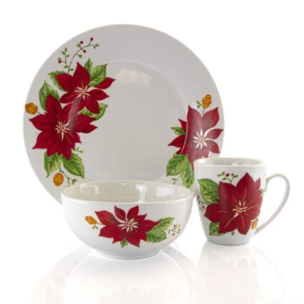 Gibson Holiday Poinsettia 12 Piece Casual White Ceramic Dinnerware Set Service For 4 985112853m The Home Depot