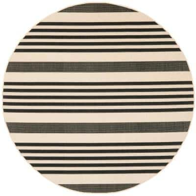 Courtyard Black/Bone 4 ft. x 4 ft. Indoor/Outdoor Round Area Rug