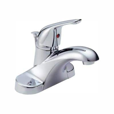 Foundations 4 in. Centerset Single-Handle Bathroom Faucet with Metal Drain Assembly in Chrome