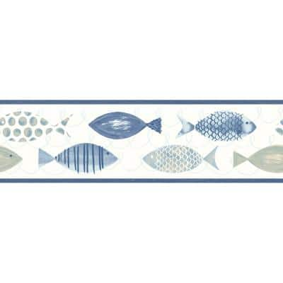 Key West Blue Fish Blue Wallpaper Border