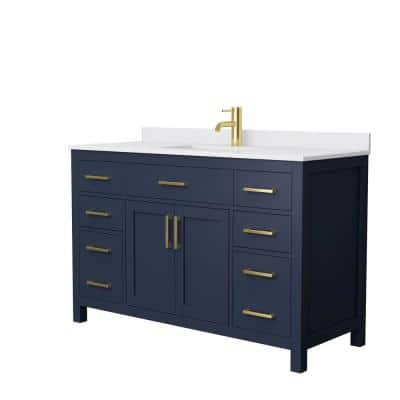 Beckett 54 in. W x 22 in. D Single Vanity in Dark Blue with Cultured Marble Vanity Top in White with White Basin