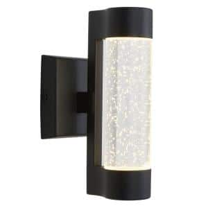Medium Essence Black Integrated LED Outdoor Wall Mount Cylinder Light
