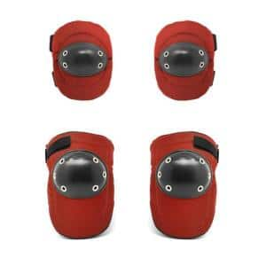 Red, Tough Cap Thick Foam Padding Knee Pads and Elbow Pads Bundle,