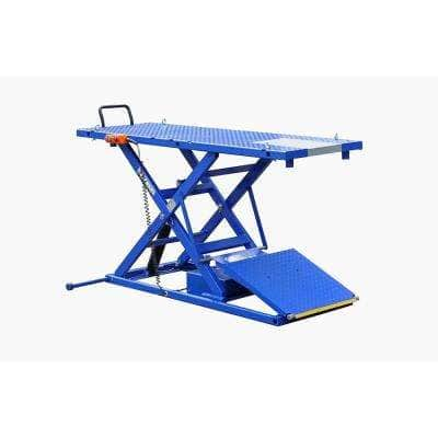 Electric-Hydra Motorcycle Scissor Lift Bench with Integrated Motor and Retractable Ramp 2200 lbs. Capacity