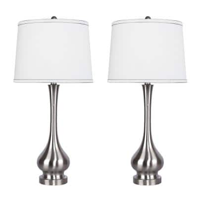 29 in. Brushed Nickel Table Lamps with Vase-Inspired Design and White Linen Shades (2-Pack)