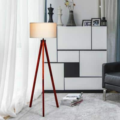 60.5 in. White and Red Wood Outdoor Floor Lamp with Food Switch