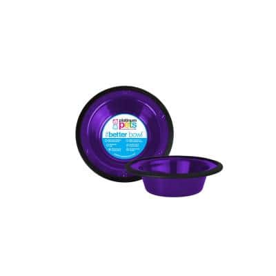 0.75 Cup Switchin Stainless Steel Dog/Cat Diner Feeder Replacement Bowl in Electric Purple