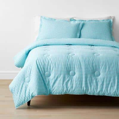 Company Kids Gingham 2-Piece Turquoise Organic Cotton Percale Twin Comforter Set