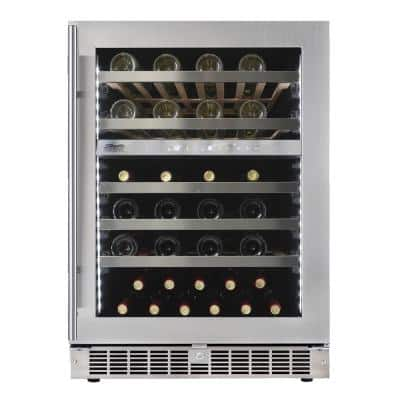 Dual Zone 51 Bottle Built-in Wine Cooler in Stainless Steel