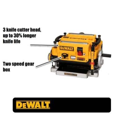 15 Amp Corded 13 in. Heavy-Duty 2-Speed Thickness Planer with (3) Knives, In Feed Table and Out Feed Table