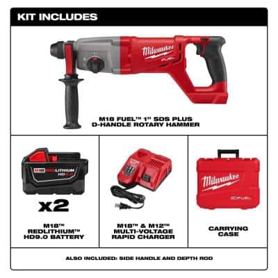 M18 FUEL 18-Volt Lithium-Ion Brushless Cordless 1 in. SDS-Plus D-Handle Rotary Hammer Kit W/(2) 9.0Ah Batteries