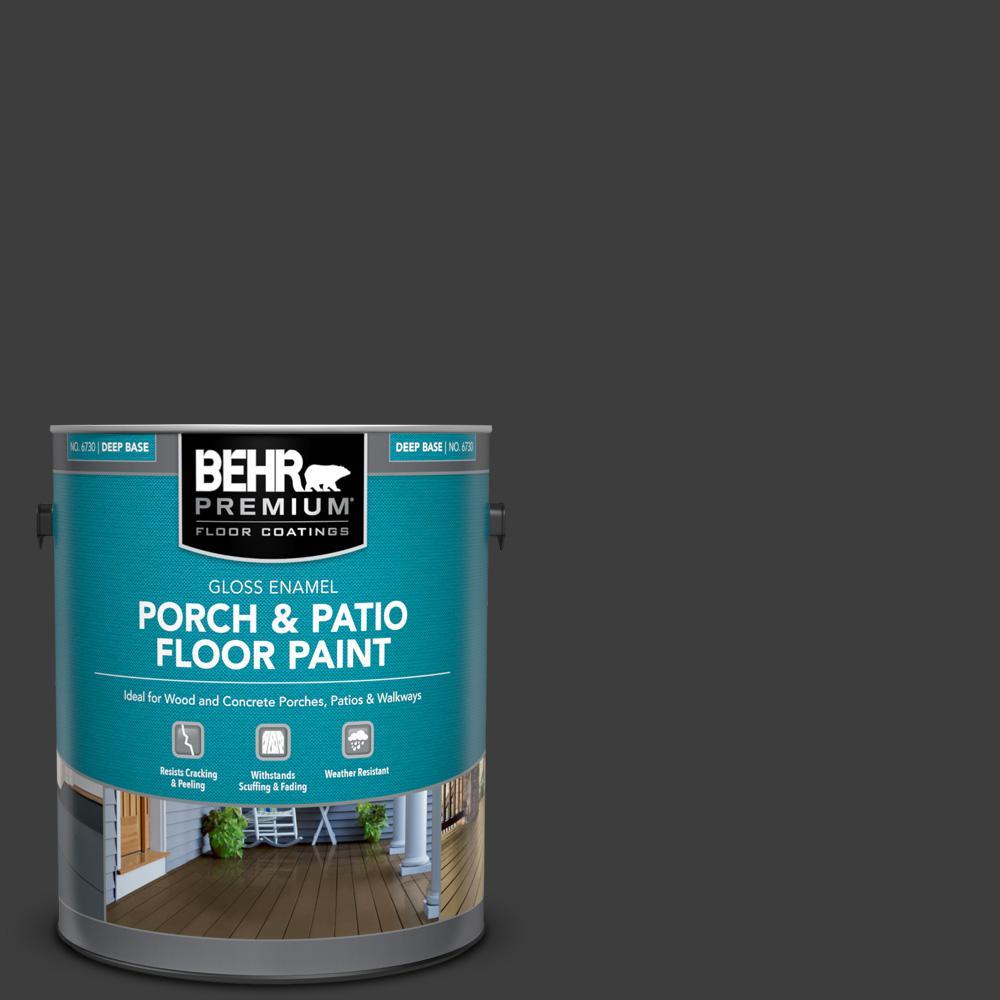 1 gal. #PPF-59 Raven Black Gloss Enamel Interior/Exterior Porch and Patio Floor Paint
