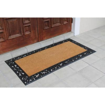A1HC First Impression Black/Beige 30 in. x 60 in. Rubber and Coir, Heavy Duty, Extra Large Size Doormat