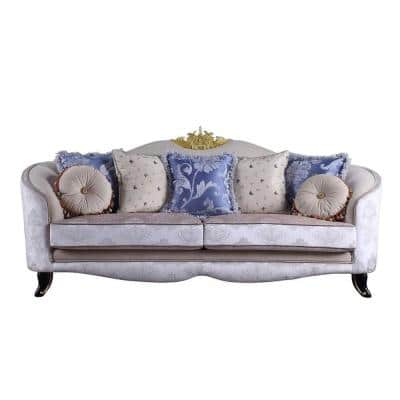 Amelia 38 in. Cream Fabric Pattern Fabric 3-Seater Chesterfield Sofa with Removable Cushions