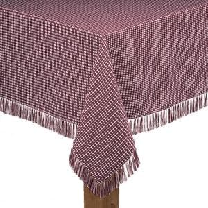 Homespun Fringed 52 in. x 70 in Wine 100% Cotton Tablecloth