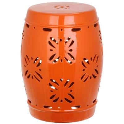 Sakura Orange Ceramic Garden Stool