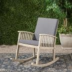 Casa Light Grey Acacia Wood Outdoor Rocking Chair with Dark Grey Cushion