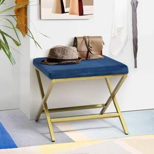 Blue Velvet Living Room Ottoman X Shape Legs