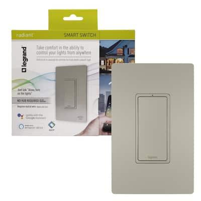 radiant Smart 15 Amp 120-Volt Single-Pole/3-Way WiFi Rocker Light Switch, Nickel