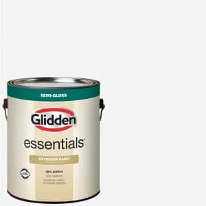 Glidden Essentials 1 Gal White Base 1 Semi Gloss Exterior Paint Gle 7011n 01 The Home Depot