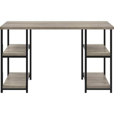 Seneca 47.5 in. Rectangular Distressed Gray Oak Writing Desk with Storage