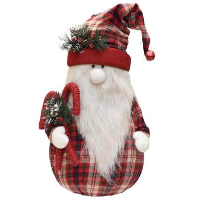 28 in. Red and White Plaid Sitting Santa Gnome with Candy Canes Plush Table Top Christmas Figure