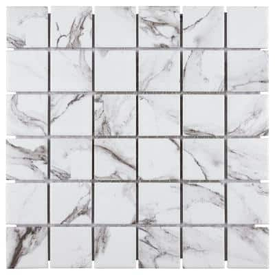 Katina Calacatta 11-5/8 in. x 11-5/8 in. x 7mm Porcelain Mosaic Tile (9.59 sq. ft./Case)