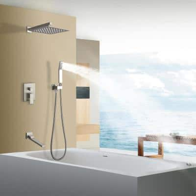 Single-Handle 1- -Spray with 2.5 GPM 10 in. 3-Way Wall Mount Tub and Shower Faucet in Brushed Nickel (Valve Included)