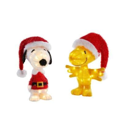 18 in. LED Peanuts Snoopy and Woodstock Holiday Yard Decor
