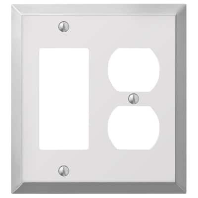 Metallic 2 Gang 1-Duplex and 1-Rocker Steel Wall Plate - Polished Chrome