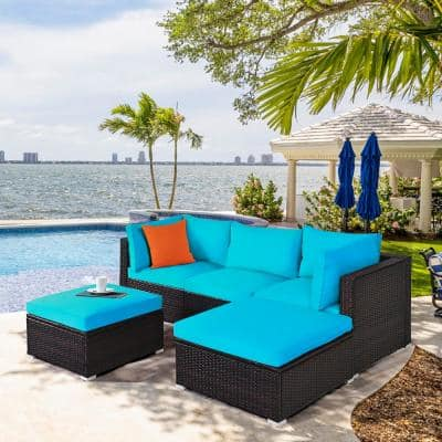 Ottoman 5-Piece Patio Rattan Sectional Conversation Set with Turquoise Cushions