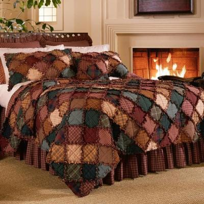 Campfire 3-Piece Brown Cotton Queen Quilt Set