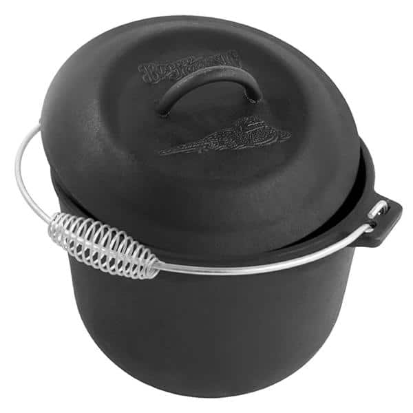 """Covered Soup Pot With Cast Iron Lid 10.5/""""D x 7/""""H NEW Bayou Classic 7406 6 Qt"""