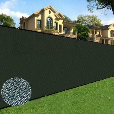 4 ft. x 50 ft. Long Lasting Green Privacy Fence Netting Mesh Fabric w/Aluminum Reinforced Grommets UV Treated