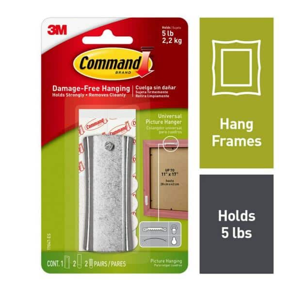 """1/"""" 100-Count Metal Sawtooth Picture Frame Hangers with No Nail Storage Box"""